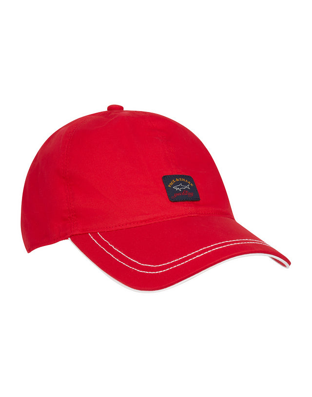 Woven Patched Baseball Cap in Red