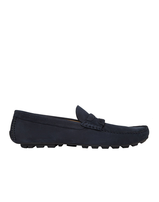 Leather Slip-On Loafers in Navy