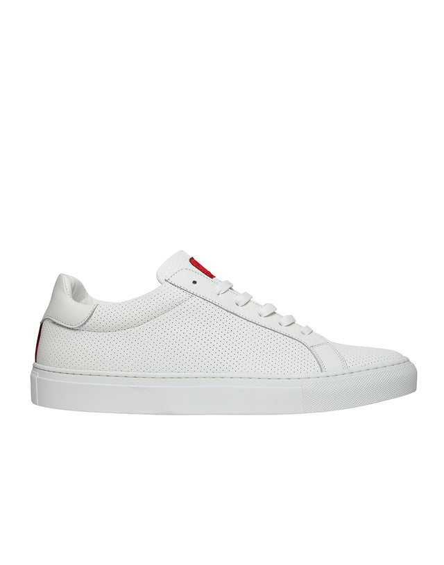 Perforated Leather Tennis Shoes in White