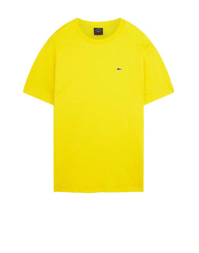 Shark Embroidered Crew T-Shirt in Yellow