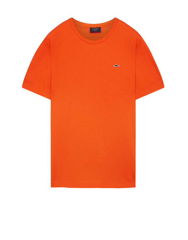 Shark Embroidered Crew T-Shirt in Orange