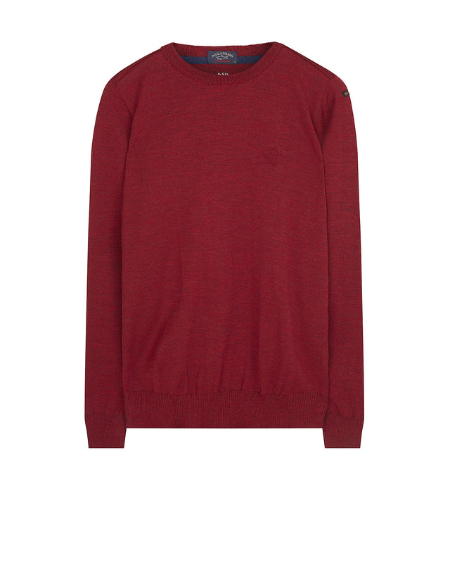 Crewneck Shark Fit Wool Jumper in Red