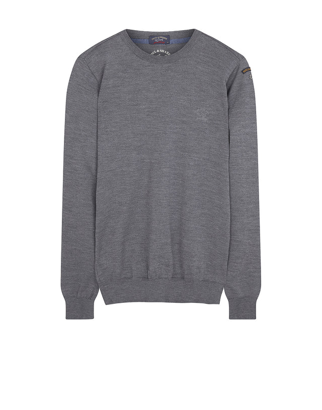 Crewneck Shark Fit Wool Jumper in Grey