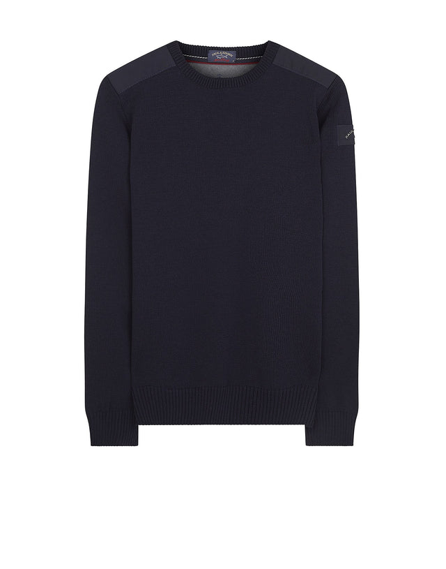 Shark Fit Shoulder Detail Wool Jumper in Blue