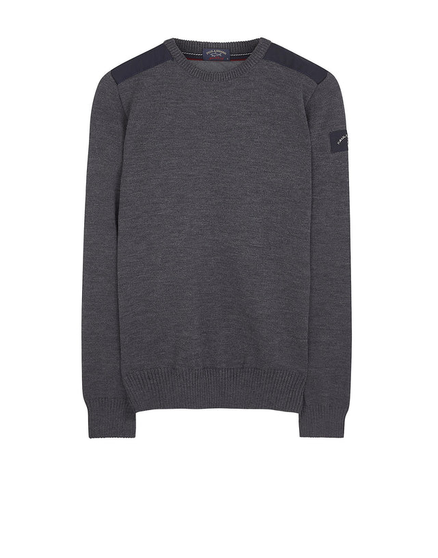 Shark Fit Shoulder Detail Wool Jumper in Grey