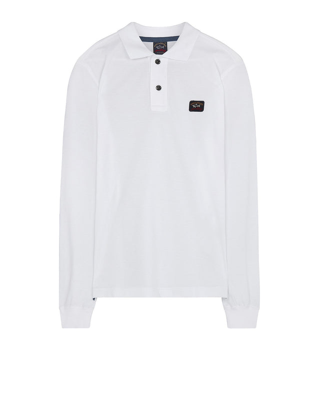 Chest Logo Shark Fit Long Sleeve Polo Shirt in White