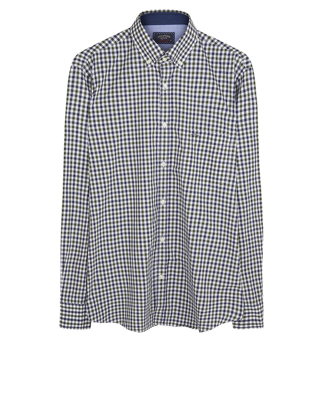 Long Sleeve Gingham Shirt in Green & Blue