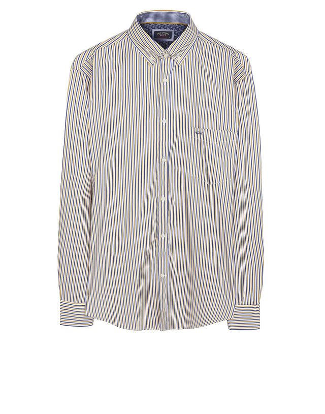 Long Sleeve Striped Shirt in Blue & Yellow