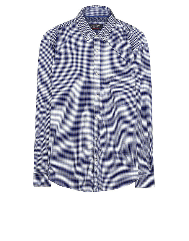 Long Sleeve Gingham Shirt in Blue & Grey