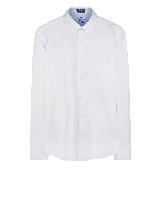 Long Sleeve Oxford Shirt in White