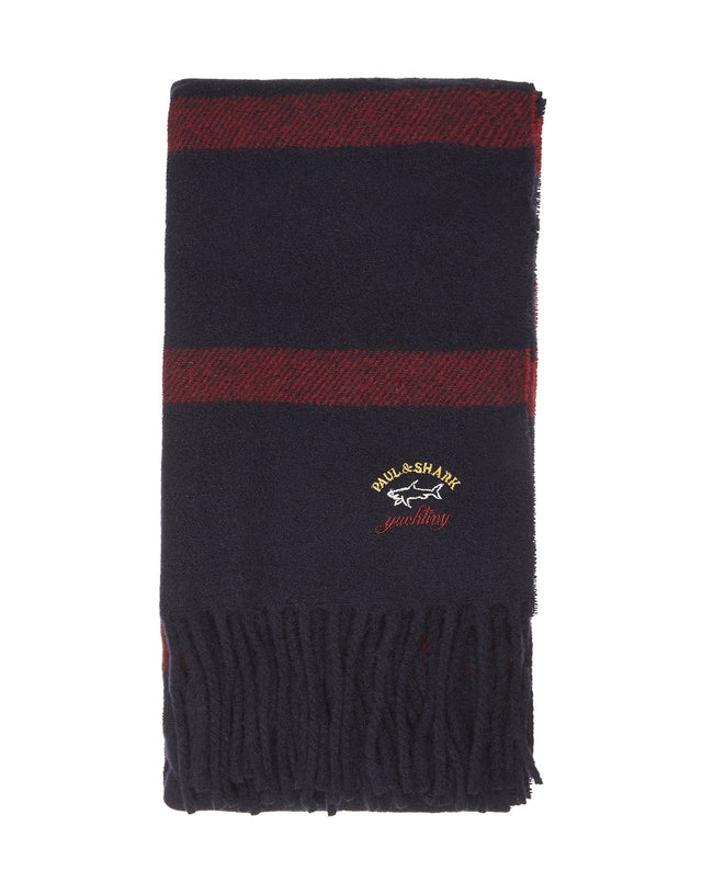 Striped Wool Scarf in Navy & Red