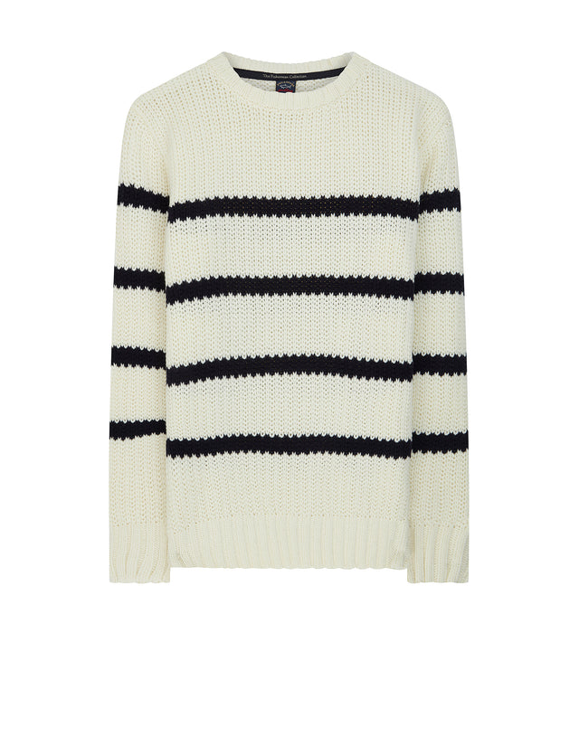 Fisherman Collection Striped Jumper in Cream & Blue