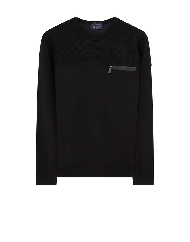 Zip Pocket Cool Touch Sweater in Black