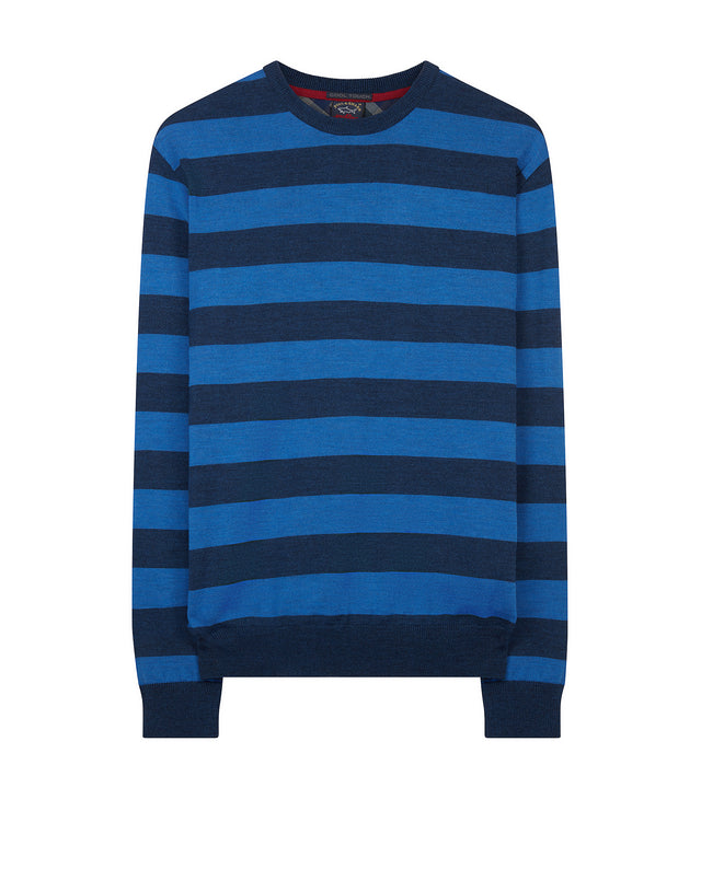 Crewneck Striped Wool Sweater in Blue