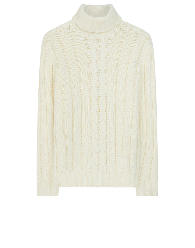 Heritage Roll Neck Sweater in Off White