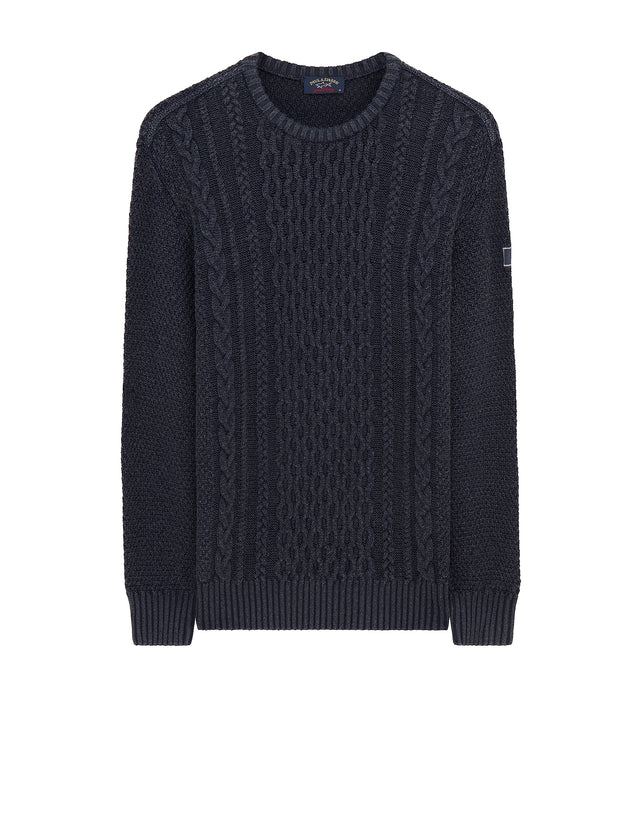 Knitted Crewneck Sweater in Navy