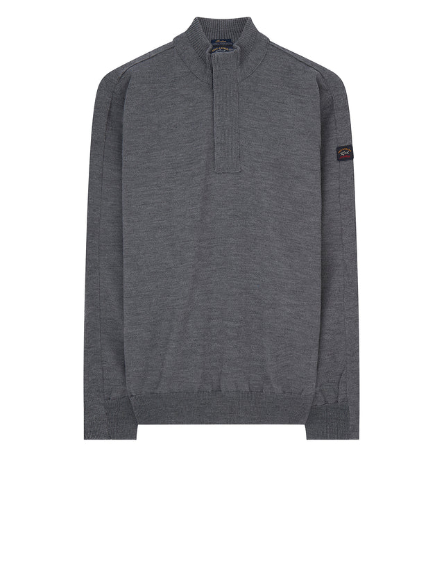Knitted Wool Quarter-Zip Sweater in Grey