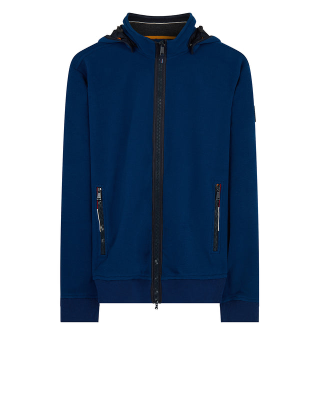 Technical Hooded Full-Zip Jacket in Cadet Blue