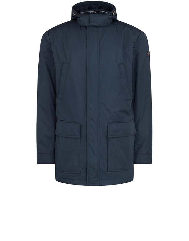 Three Quarter Length Hooded Jacket in Blue