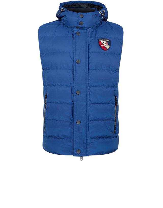 Down Filled Hooded Gilet in Blue