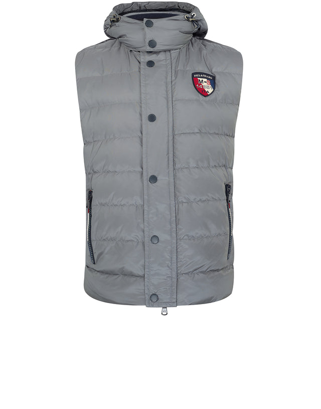 Down Filled Hooded Gilet in Grey