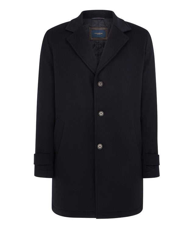 Long Cashmere Button Up Coat in Blue