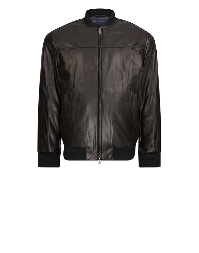 Classic Leather Bomber in Black