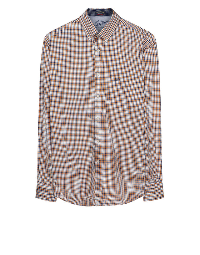 Madras Check Button-Down Shirt in Blue/Yellow
