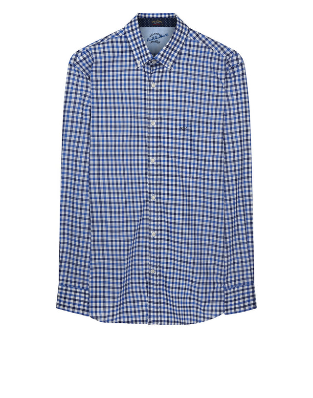 Classic Checked Shirt in Blue & White Check