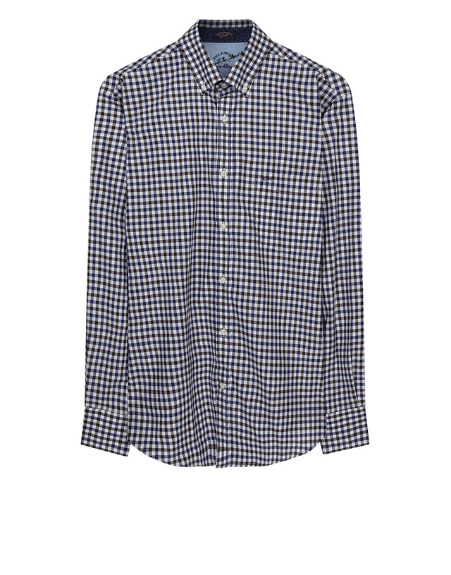 Classic Checked Shirt in Brown & Blue Check