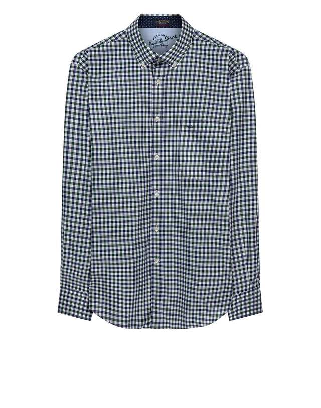 Classic Checked Shirt in Green & Blue Check