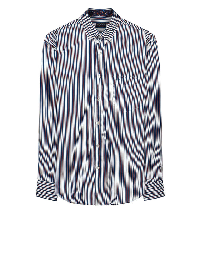 Pinstripe Button-Down Shirt in Blue & Wine Red