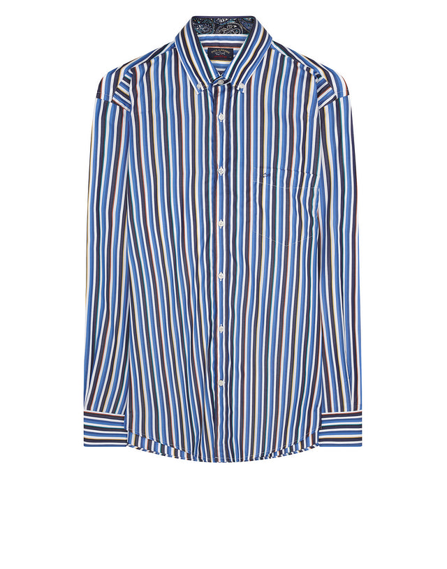 Thick Strip Button-Down Shirt in Striped Bluette