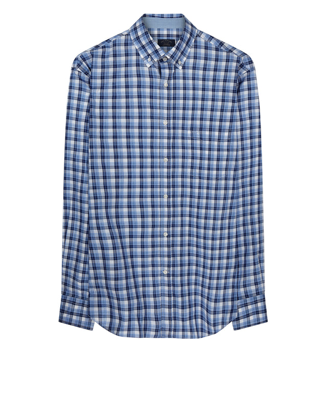 Woven Madras Shirt in Multi Blue