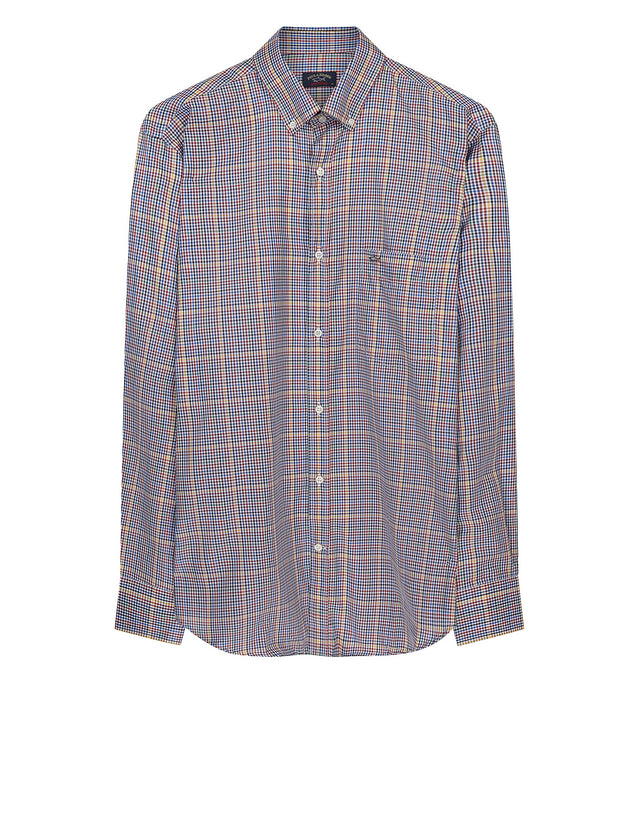 Grid Button-Down Shirt in Blue Multi Check