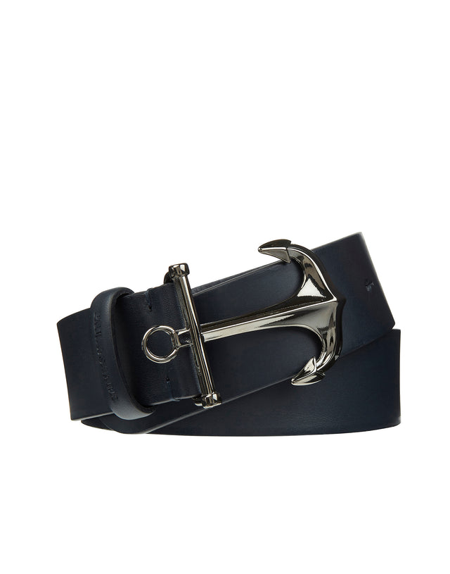 Leather Anchor Fastening Belt in Blue