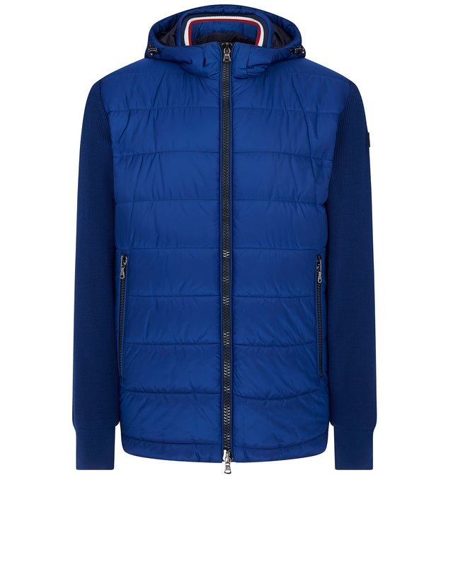 Padded Body Hooded Jacket in Cobalt Blue