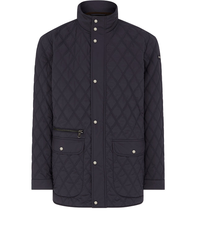 Quilted Stand Collar Jacket in Navy