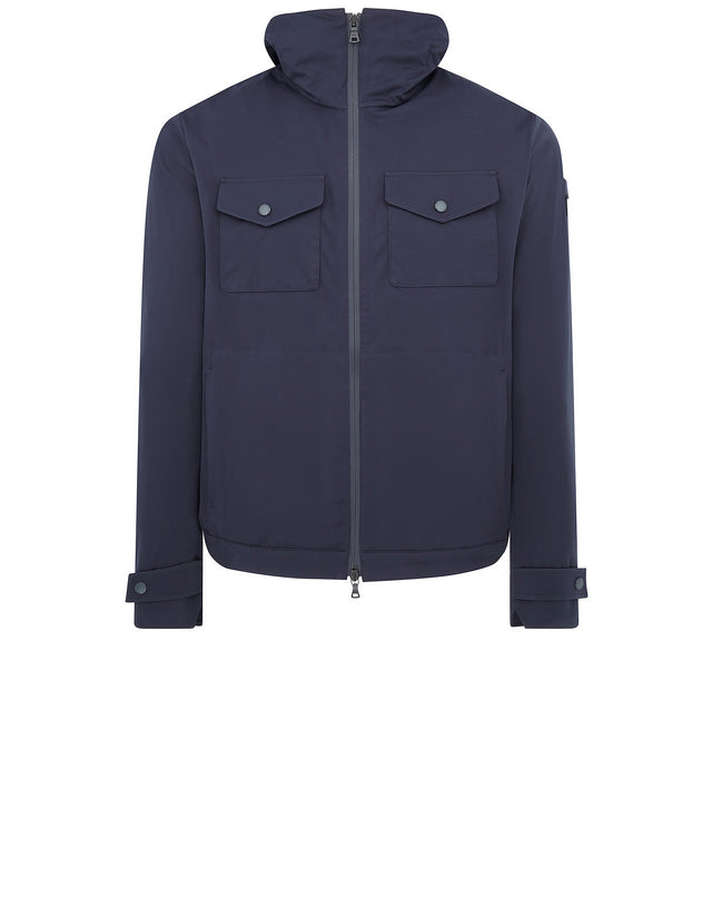 Patch Chest Pocket Hooded Jacket in Blue