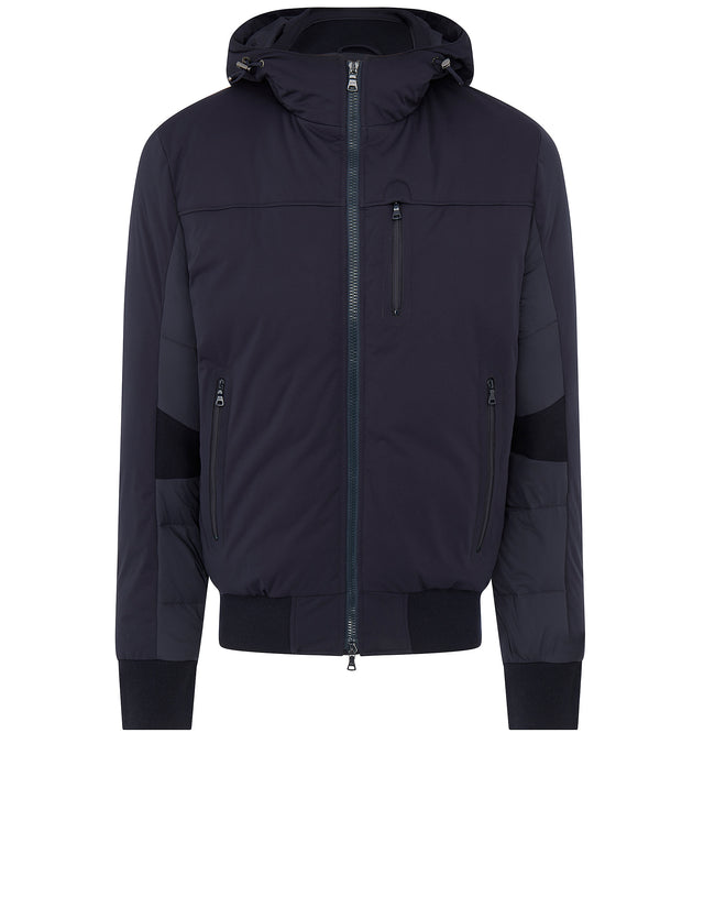 Hooded Panel Jacket in Blue