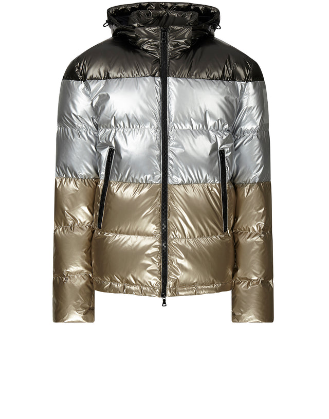 Sharkhub Metallic Down Jacket in Black/Silver/Gold