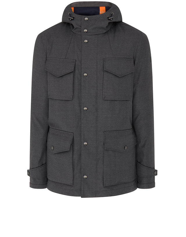 Typhoon Four Pocket Hooded Coat in Grey