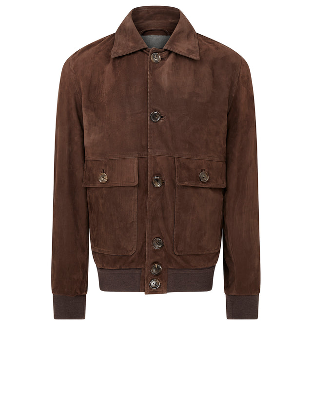Aqua Leather Button Jacket in Brown