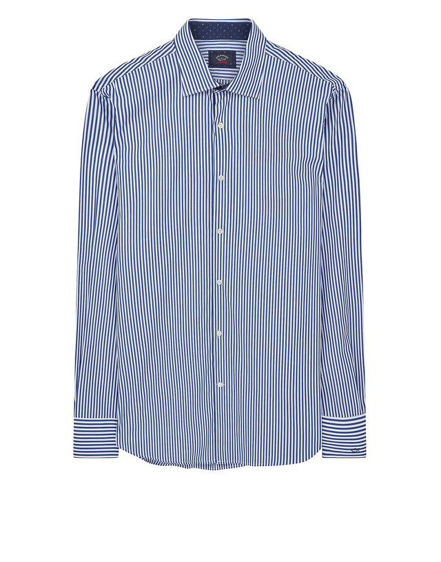 Classic Collar Stripe Shirt in Blue
