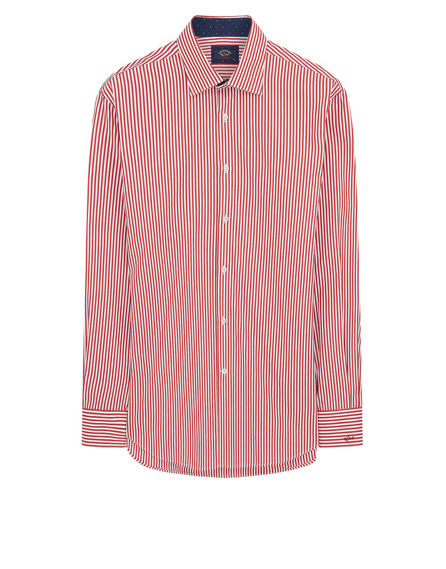 Classic Collar Stripe Shirt in Red