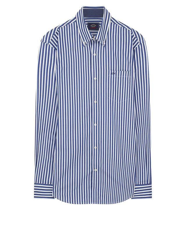 Button-Down Stripe Shirt in Navy