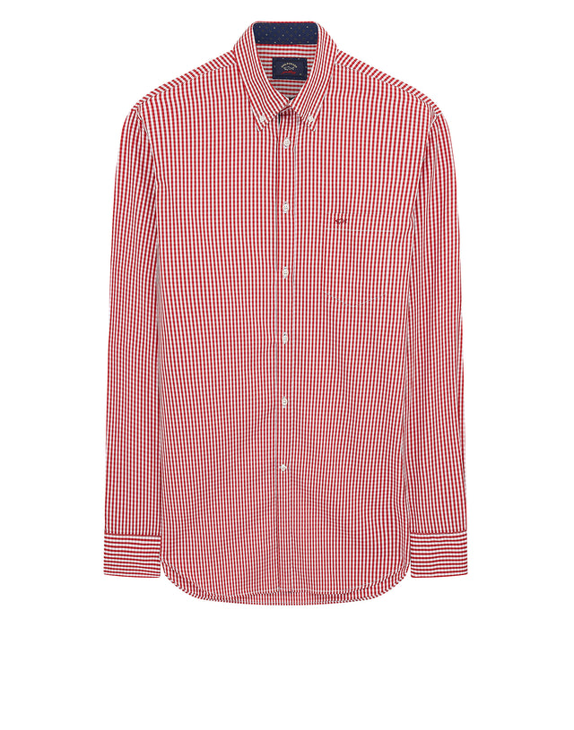Button-down Check Shirt in Red