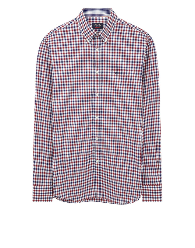 Button-Down Check Shirt in Burgundy
