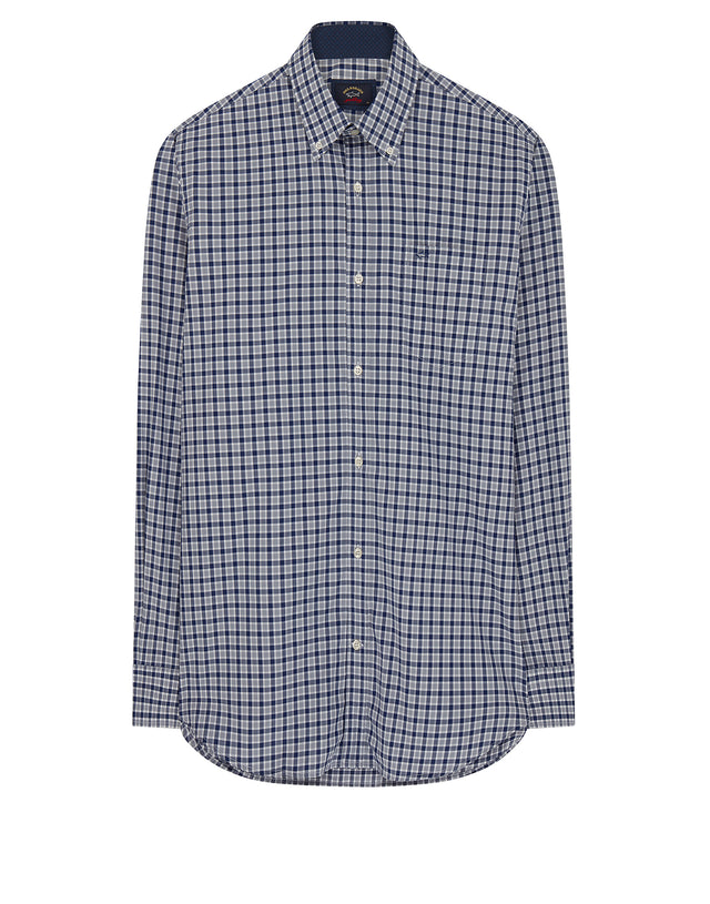 Button-down check shirt in Blue