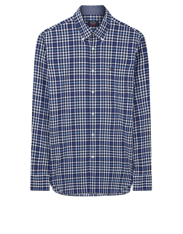 Button-Down Check Shirt in Navy